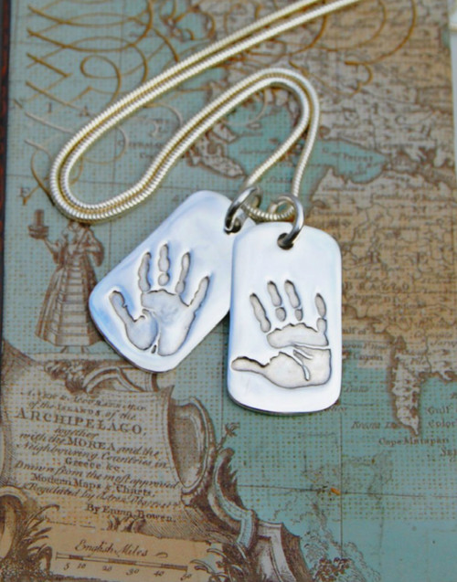 Handmade handprint or footprint pendant. Fine silver hand print dog tag pendants and sterling silver chain. Suitable for the man or woman in your world