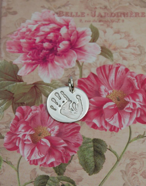 Handprint circle silver charm