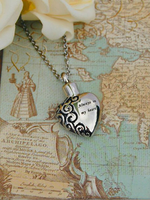 Always in my heart urn pendant