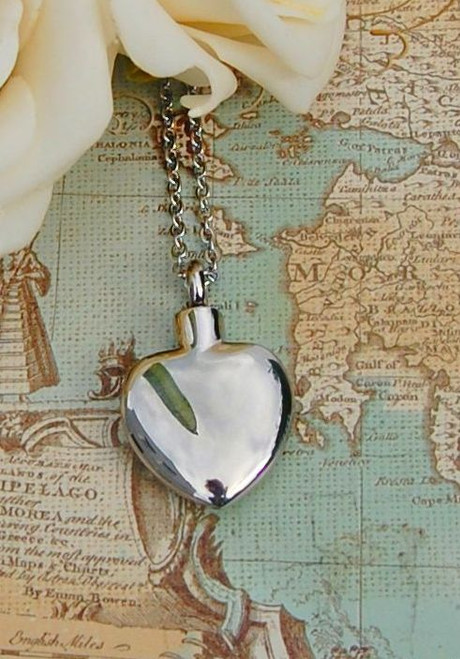 Stainless steel heart urn necklace