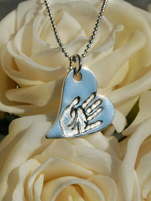 Fine silver wavy heart print pendant and sterling silver chain