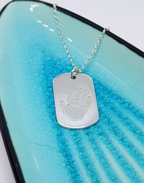 Handprint dogtag silver necklace