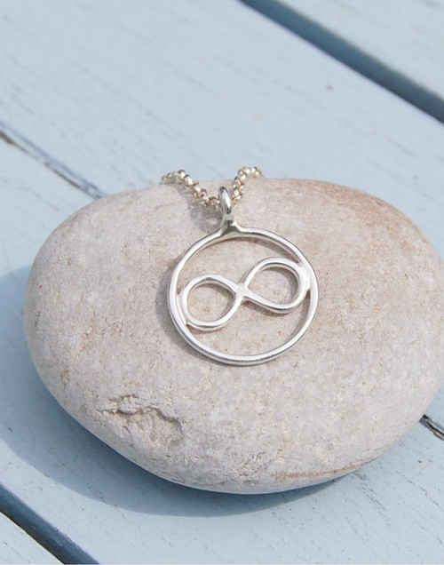 Infinity in circle silver necklace