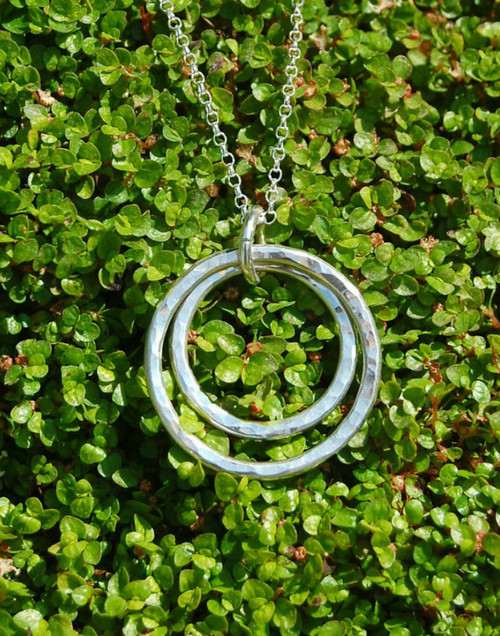 Double sterling silver circle pendant necklace