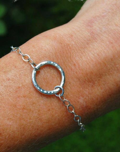 Elegant sterling silver circle bracelet
