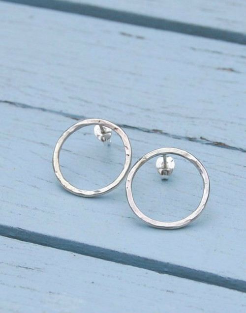 Textured circle sterling silver studs