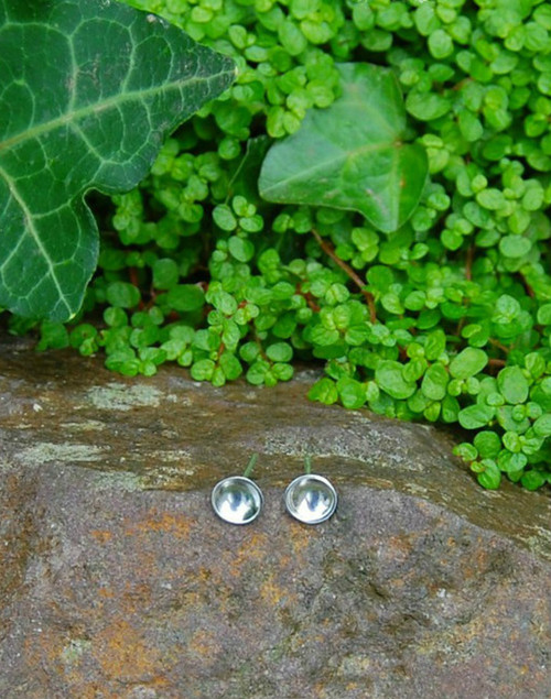 Understated mini domed sterling silver stud earrings