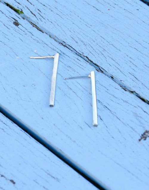 Sterling silver long line stud earrings - contemporary + modern