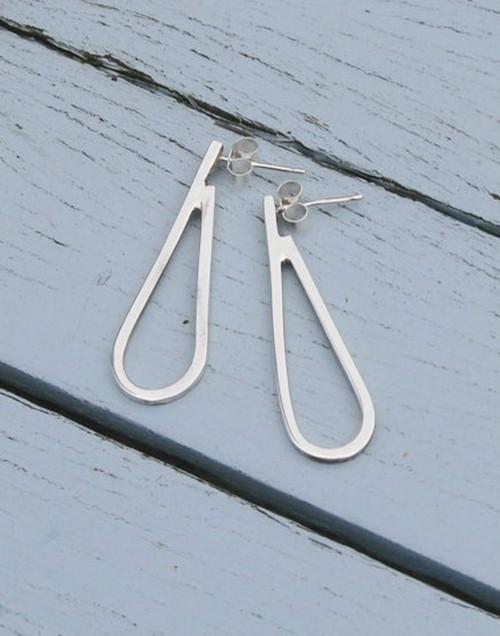 Sterling silver dewdrop long loop earrings