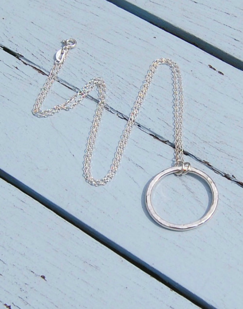 Sterling silver Belcher chain and sterling silver hammered circle pendant