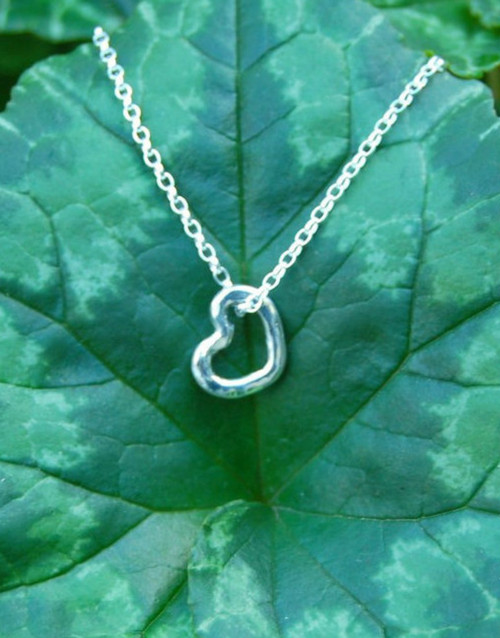 Delicate sterling silver heart on sterling silver chain