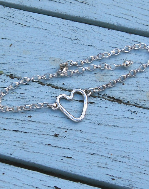 Our organic sterling silver heart and chain bracelet