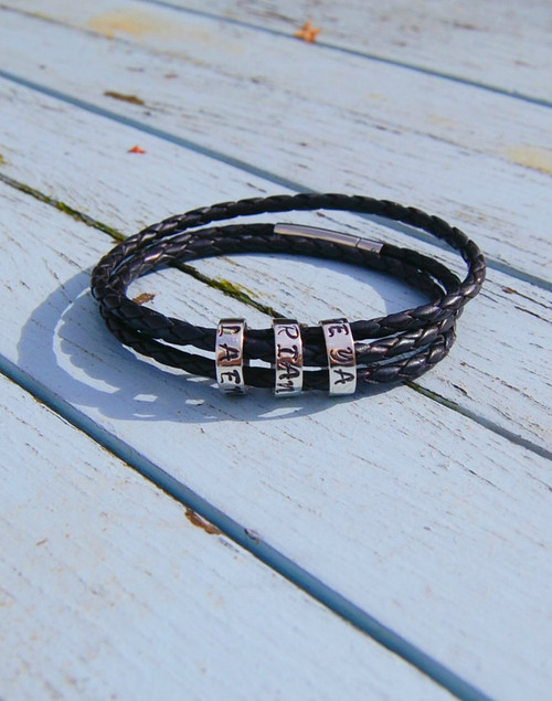 Slim silver memory beads on leather wrap bracelet