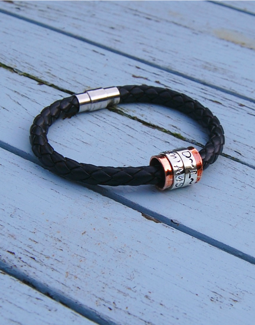 Copper core & silver spinner on wide leather bracelet