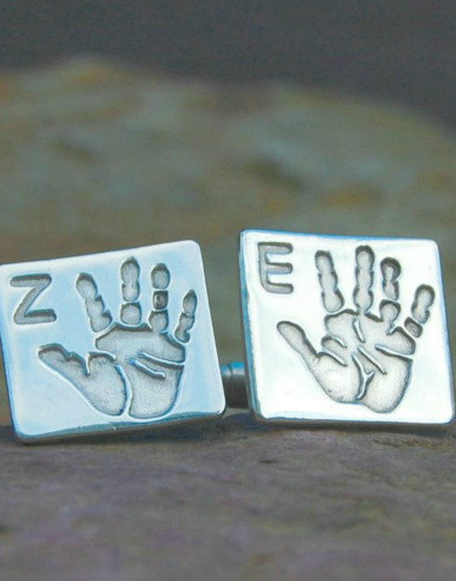 Silver square print cufflink with initial and sterling silver cufflink backs.
