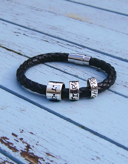Wide leather bracelet with 3 sizes of Personalised sterling silver Memory beads - 10mm, 6mm, 4mm