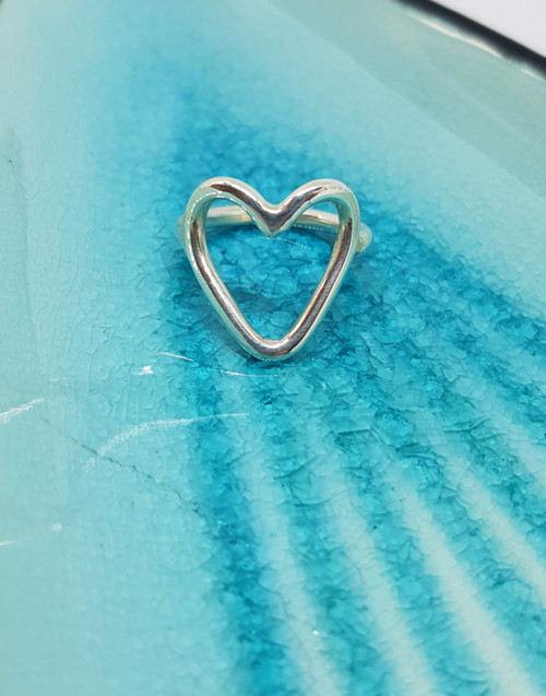 Modern and contemporary open silver heart ring