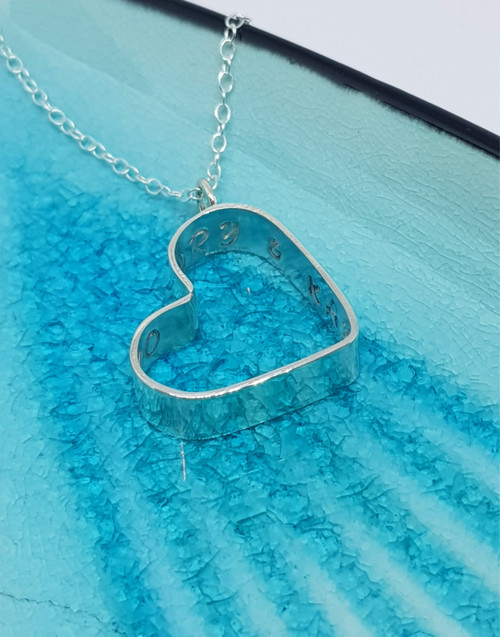 Silver personalised heart with your message in the inside