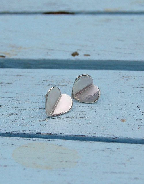 Sterling silver heart earrings with a gentle fold
