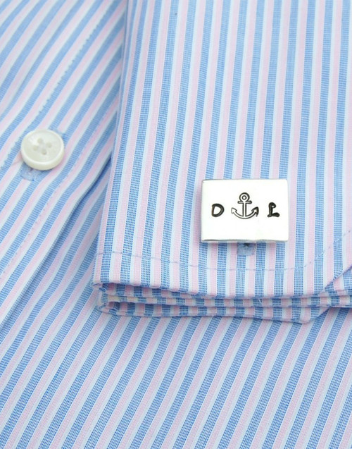 Stylish sterling silver personalised cuff links