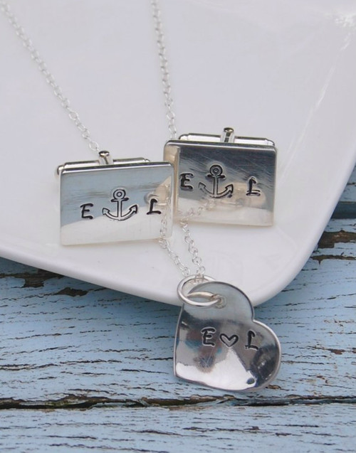 Sterling silver wedding gift set - personalised cufflinks and pendant