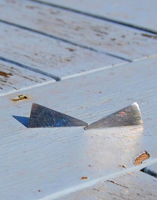 Stylish sterling silver triangle earrings