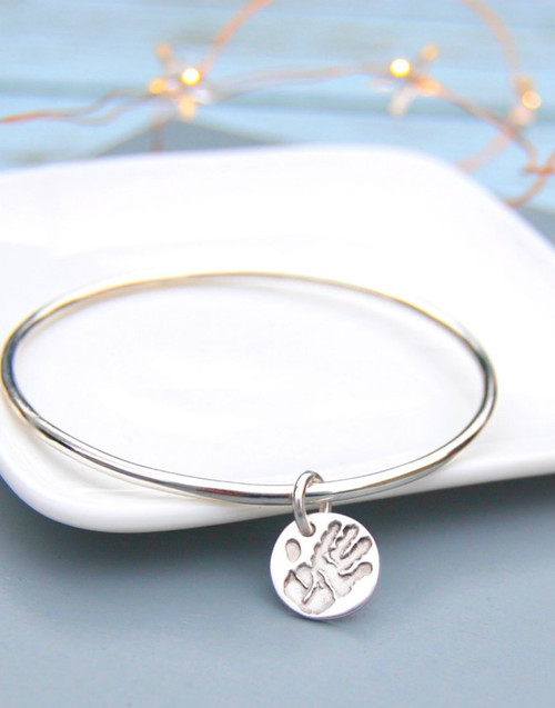 Sterling silver bangle with your print charm