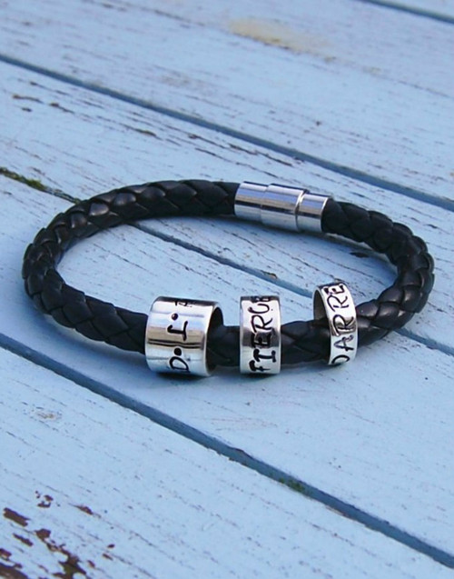 Wide leather bracelet with 3 sizes of Memory beads - 10mm, 6mm, 4mm