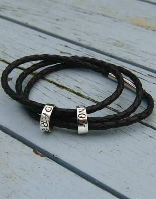 Slim memory beads on leather wrap bracelet