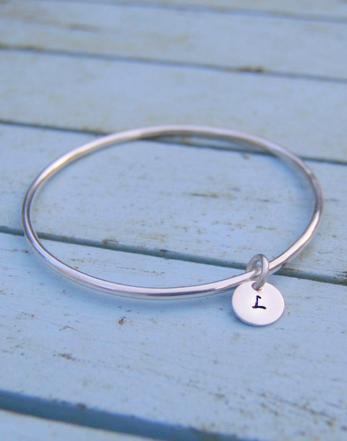 Silver initial circle with loved one's initial