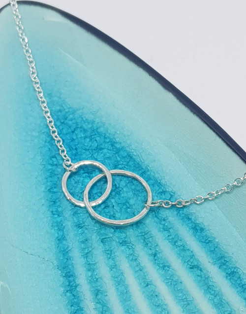 Mother of One necklace - Sterling silver linked rings in medium and small sizes
