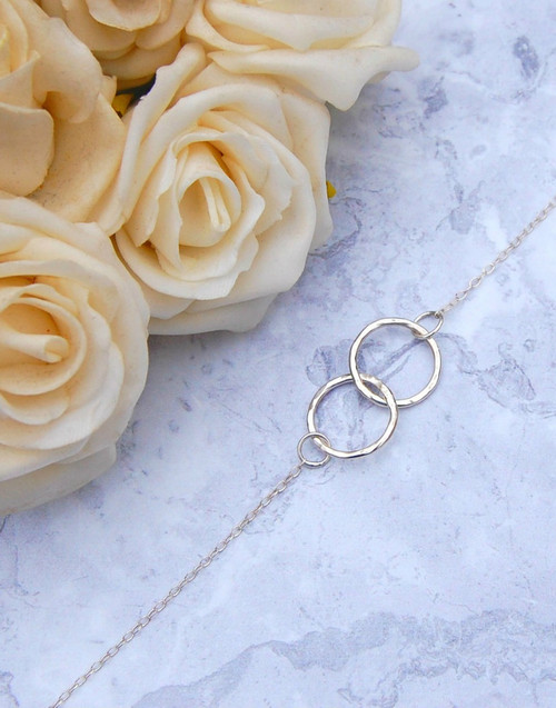 Two sterling silver interlinked rings - bonds of friendship