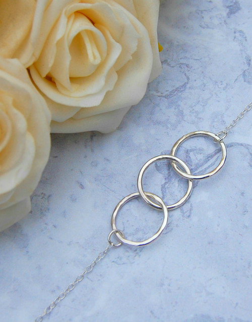 Sterling silver circle of friends necklace