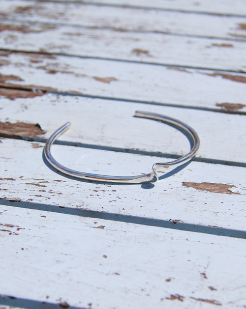 Modern and contemporary sterling silver ripple cuff bracelet