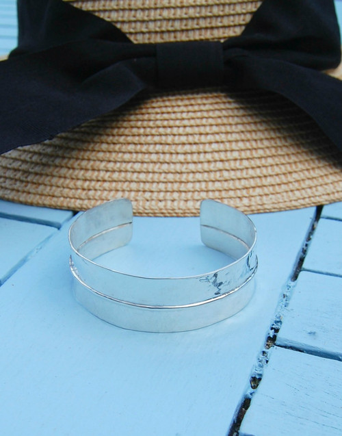 Elegant folded silver cuff bracelet