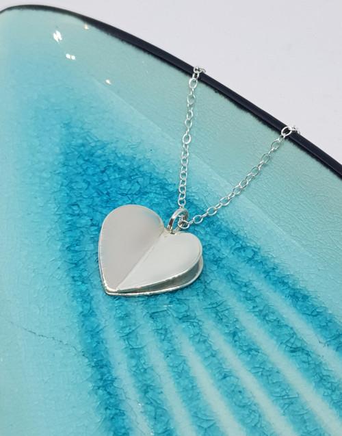 Stylish sterling silver folded heart necklace