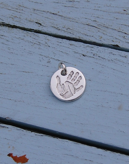 Fine silver print charm and sterling silver jumpring connector
