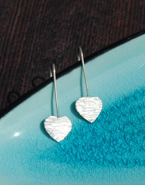 Elegant textured heart sterling silver hook earrings