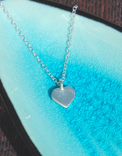 Sterling silver small chunky heart necklace