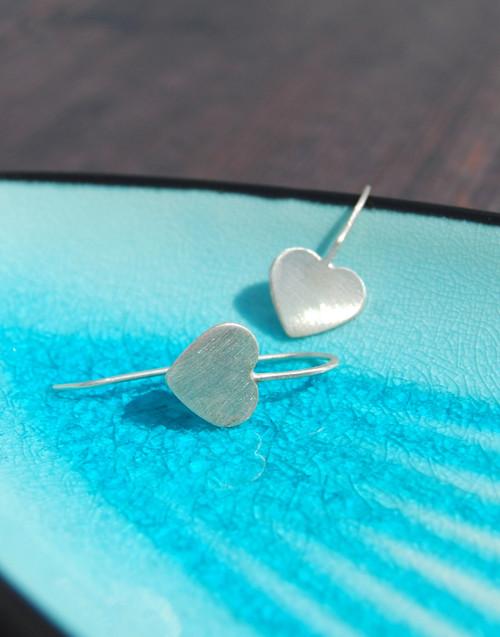 Sterling silver heart drop earrings - satin finish
