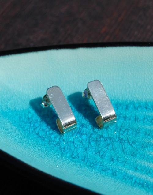 Elegant sterling silver plain hook earrings