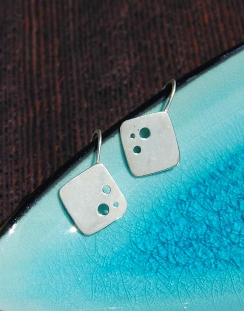 Stylish square dot drop silver earrings