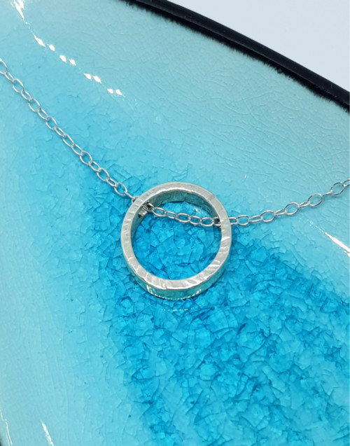 Sterling silver circle slider necklace