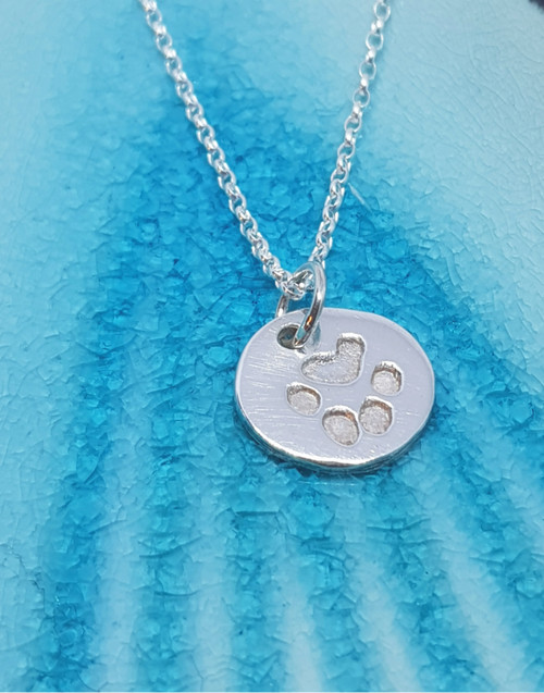 Sterling silver pet print charm necklace