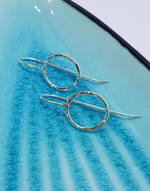 Elegant silver circle hook earrings