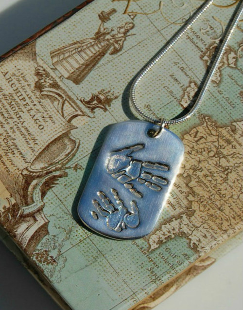 Fine silver double handprint footprint dogtag pendant and sterling silver chain