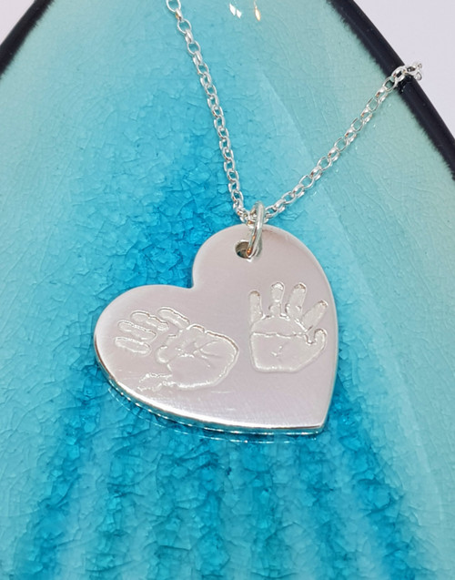Double print traditional heart silver necklace