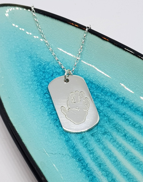 Sterling silver dogtag print necklace