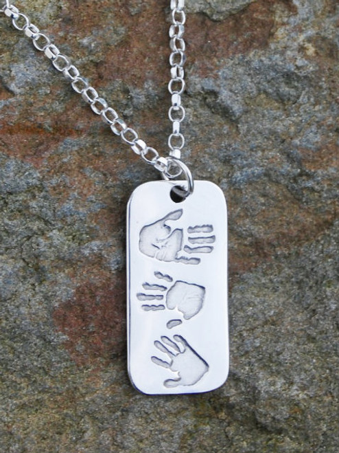 Handmade fine silver print dogtag pendant with three prints and sterling silver chain.  Our dogtag triple print pendant