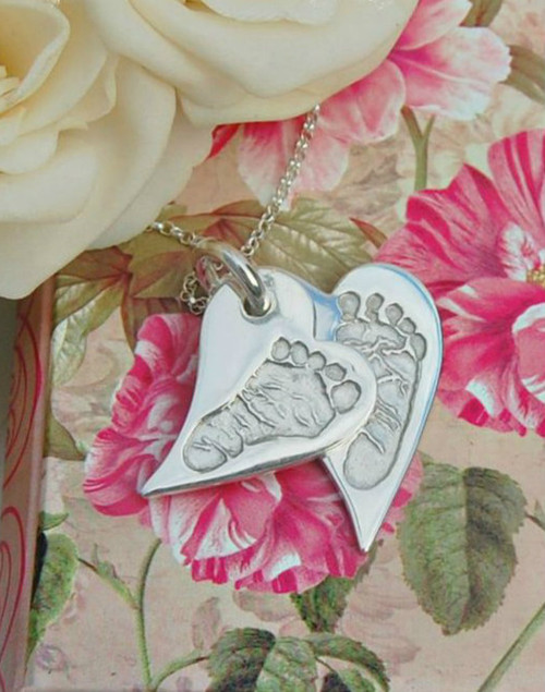 Sterling silver stacked handprint or foot print charm necklace